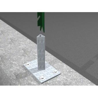 Supporto 4 fori per tassellare pali a T per recinzione rete metallica