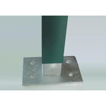 Base 4 fori per palo quadro con piastra per tassellare recinzioni modulari